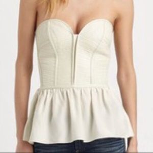 """Parker """"Marilyn"""" Leather/Silk top in White, SzM"""
